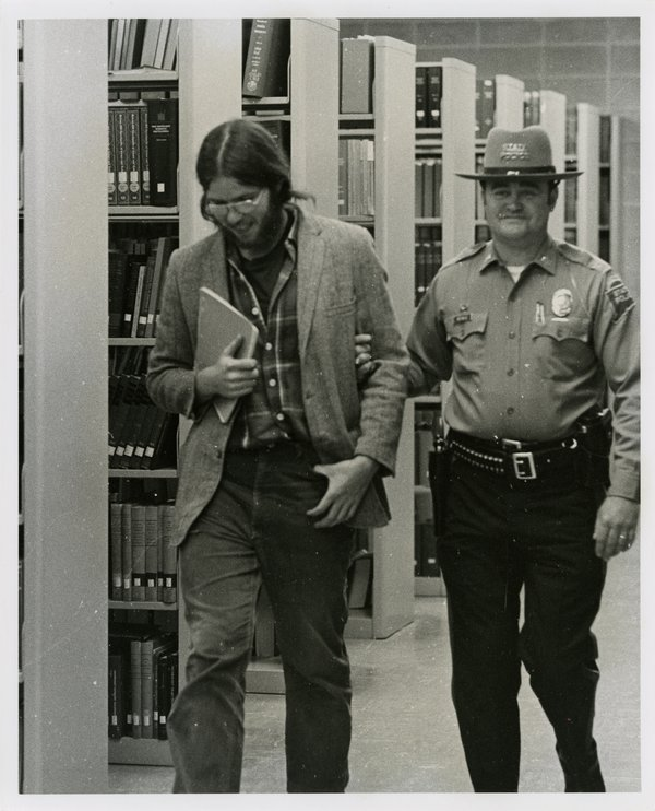 White Student Removed from the Wilbur Cross Library After Supporting Black Students on Campus, April 24, 1974.