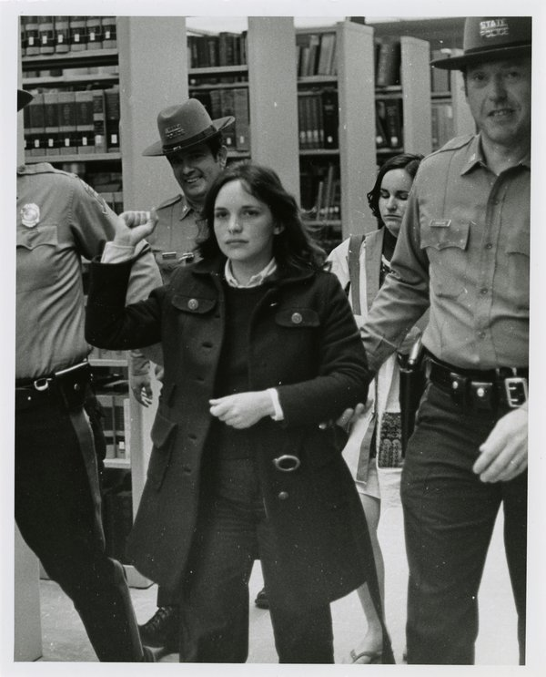 White Students Arrested After Supporting Black Students on Campus, April 24, 1974.