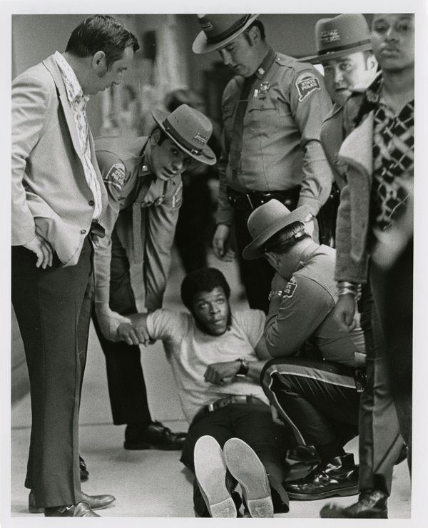 Black Student Dragged out of the Wilbur Cross Library, April 23, 1974.