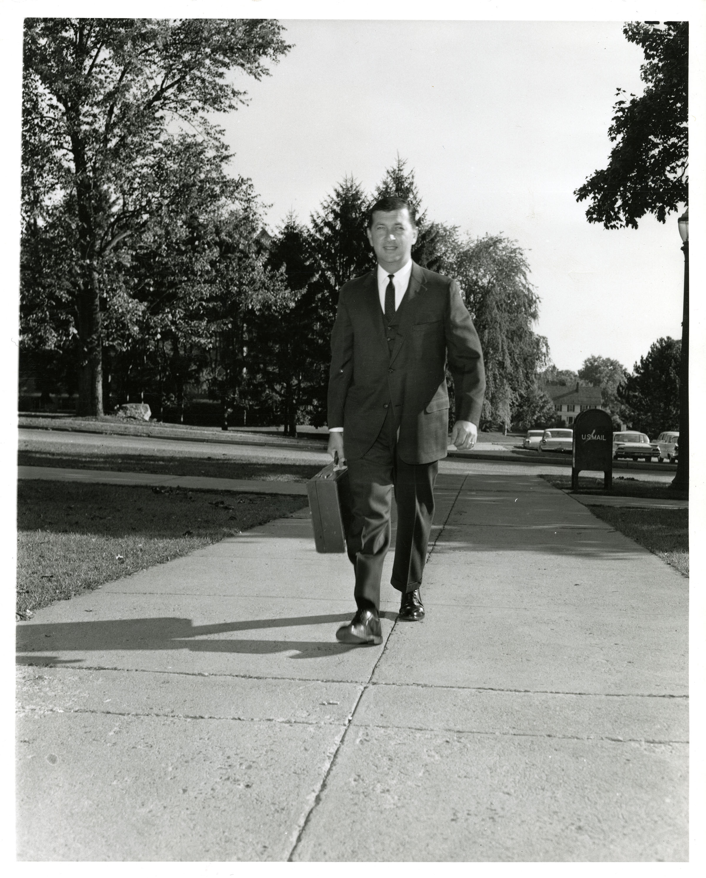 UConn President Homer D. Babbidge Jr. on his first day as President, Fall 1962