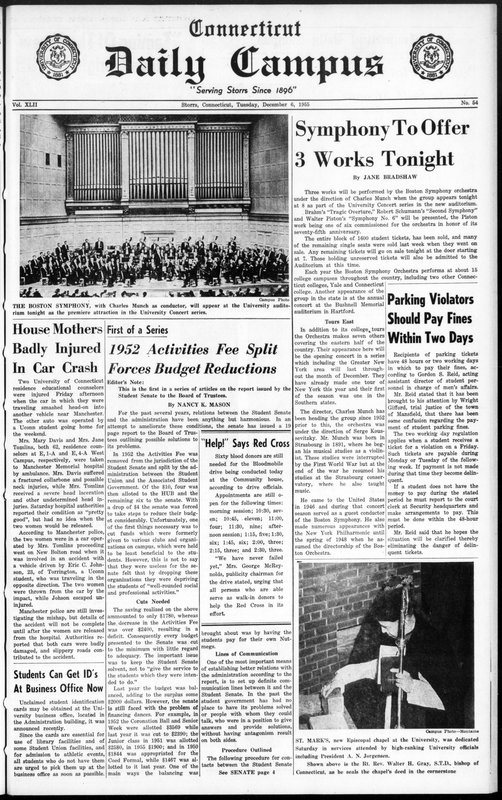 Front page of the December 6, 1955, Connecticut Daily Campus