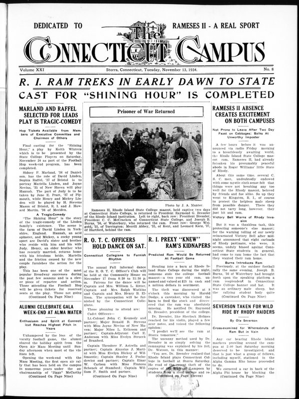 Front page of the November 13, 1934, issue of Connecticut Campus
