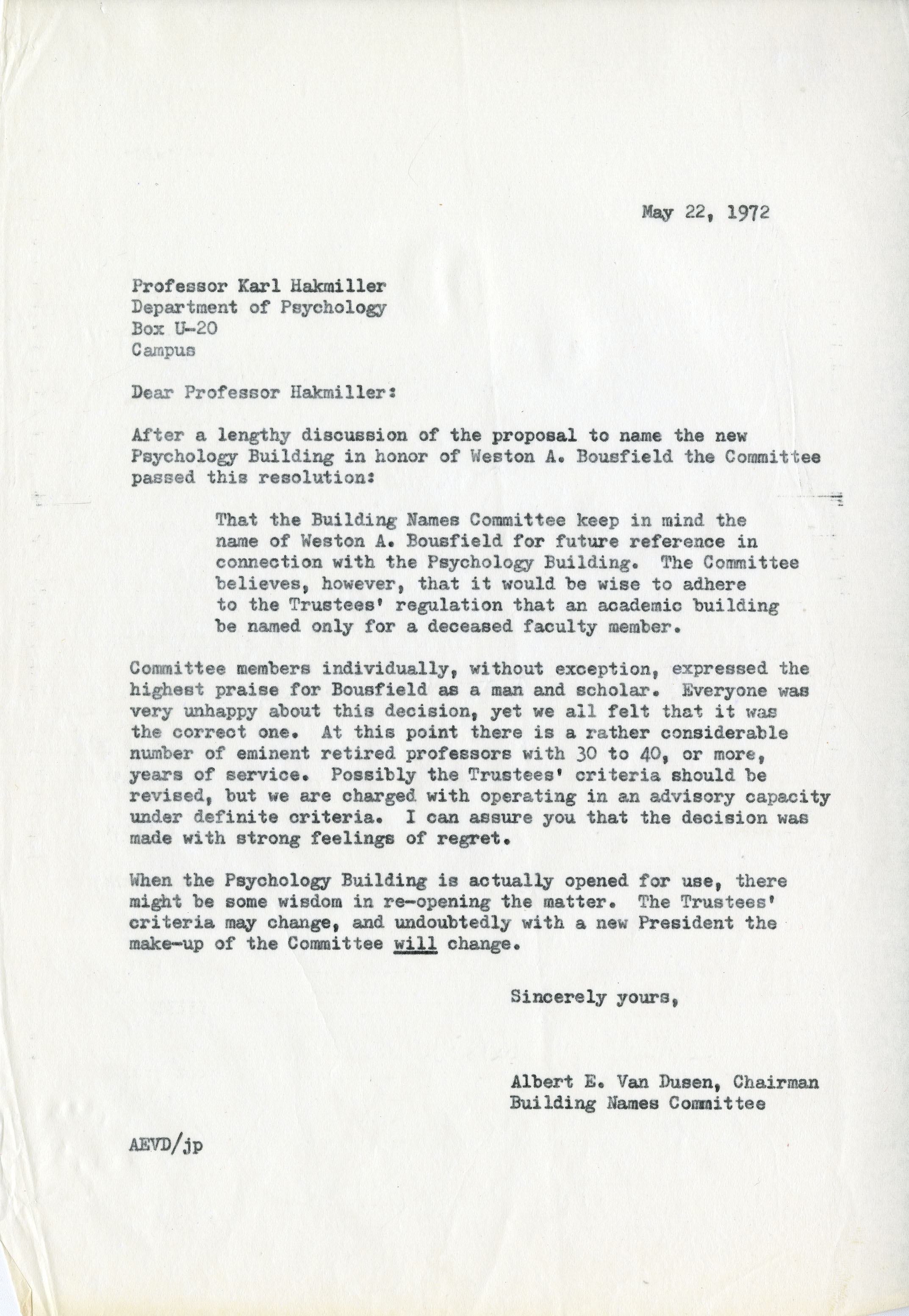 Letter from Building Names Committee about naming of the Psychology Building after Weston A. Bousfield, May 22, 1972