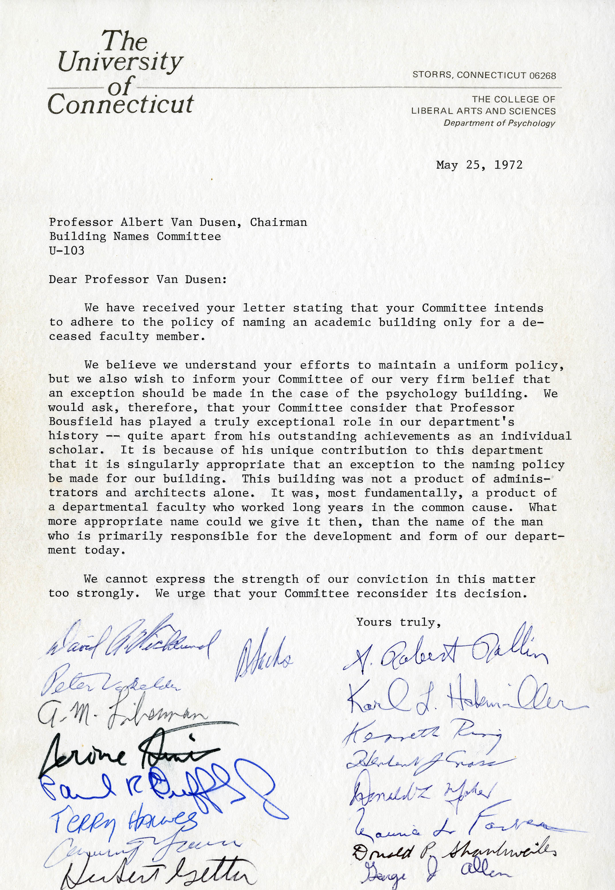 Letter in support of naming the Psychology Building after Weston A. Bousfield, May 25, 1972 (page 1)