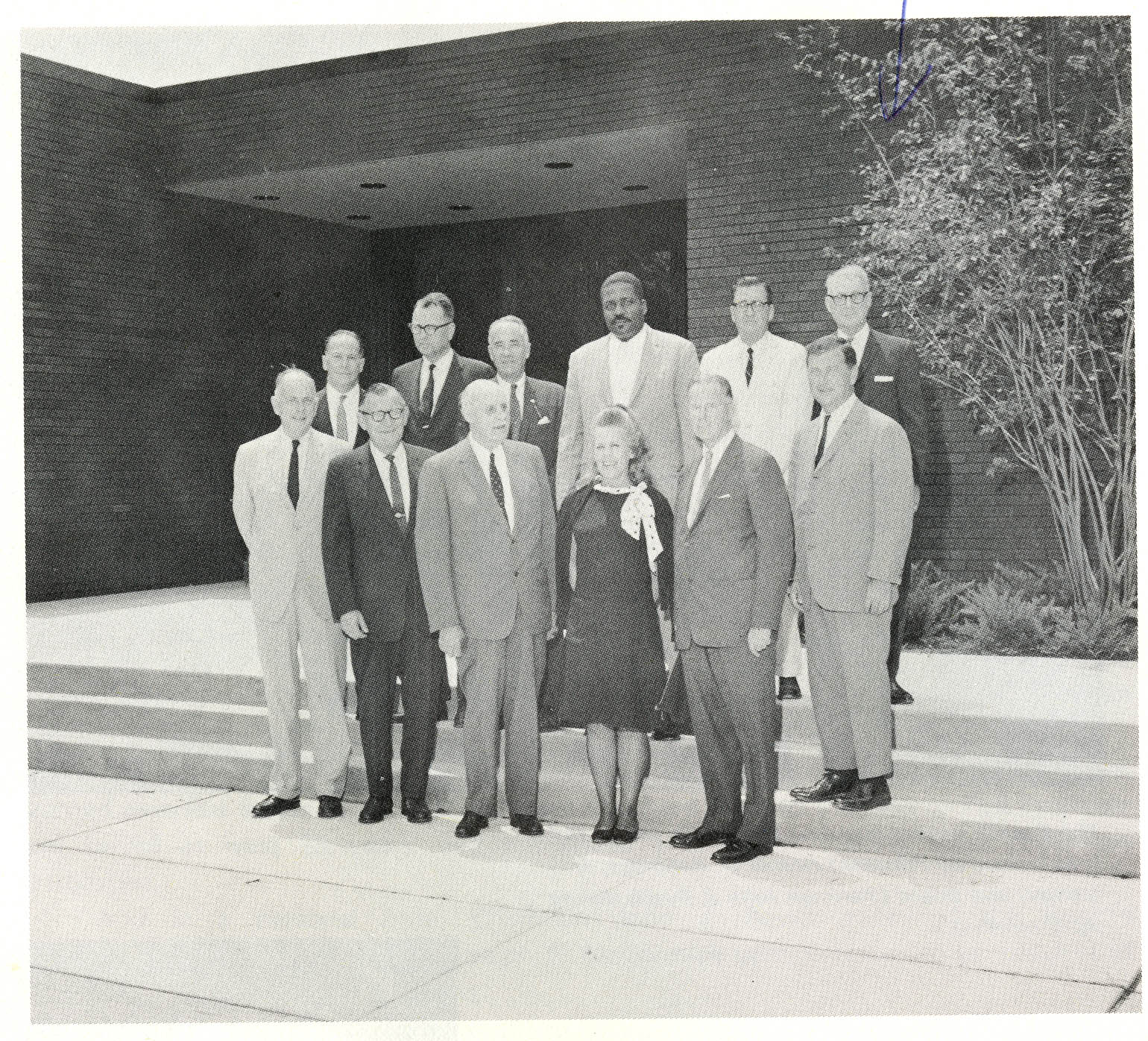 UConn Board of Trustees including Merlin Bishop (first from the right, top row) and UConn President Homer D. Babbidge (first from the right, middle row), 1968
