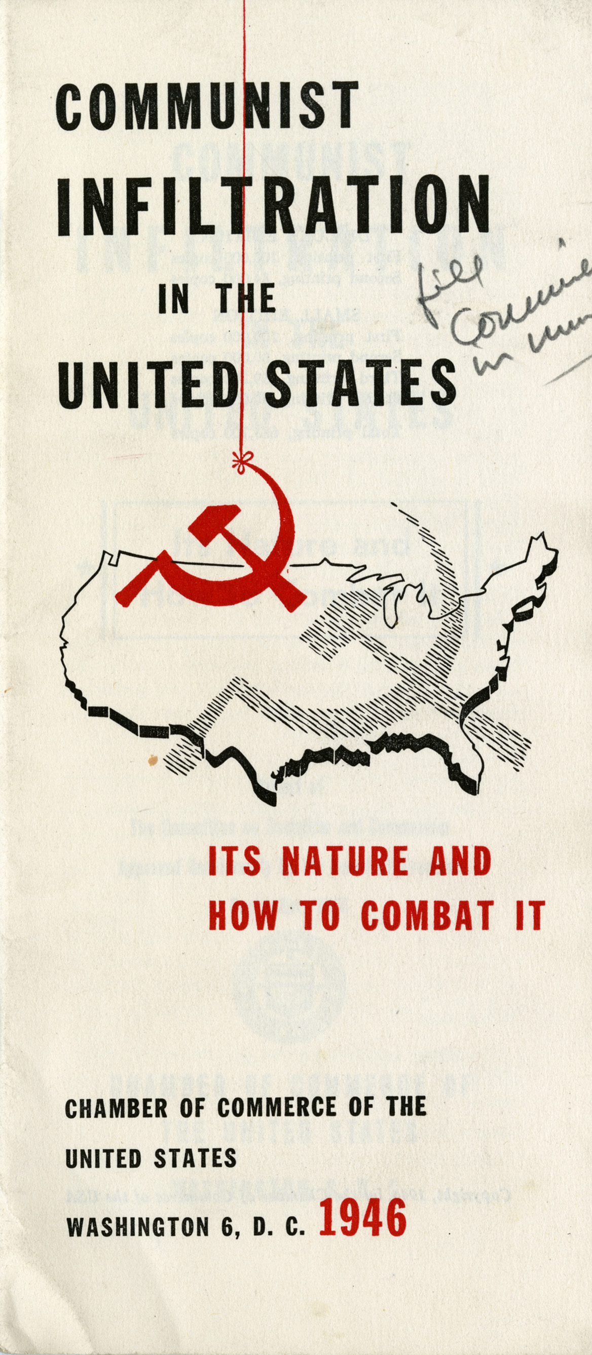 "First page of a pamphlet ""Communist Infiltration in the United States,"" 1946"