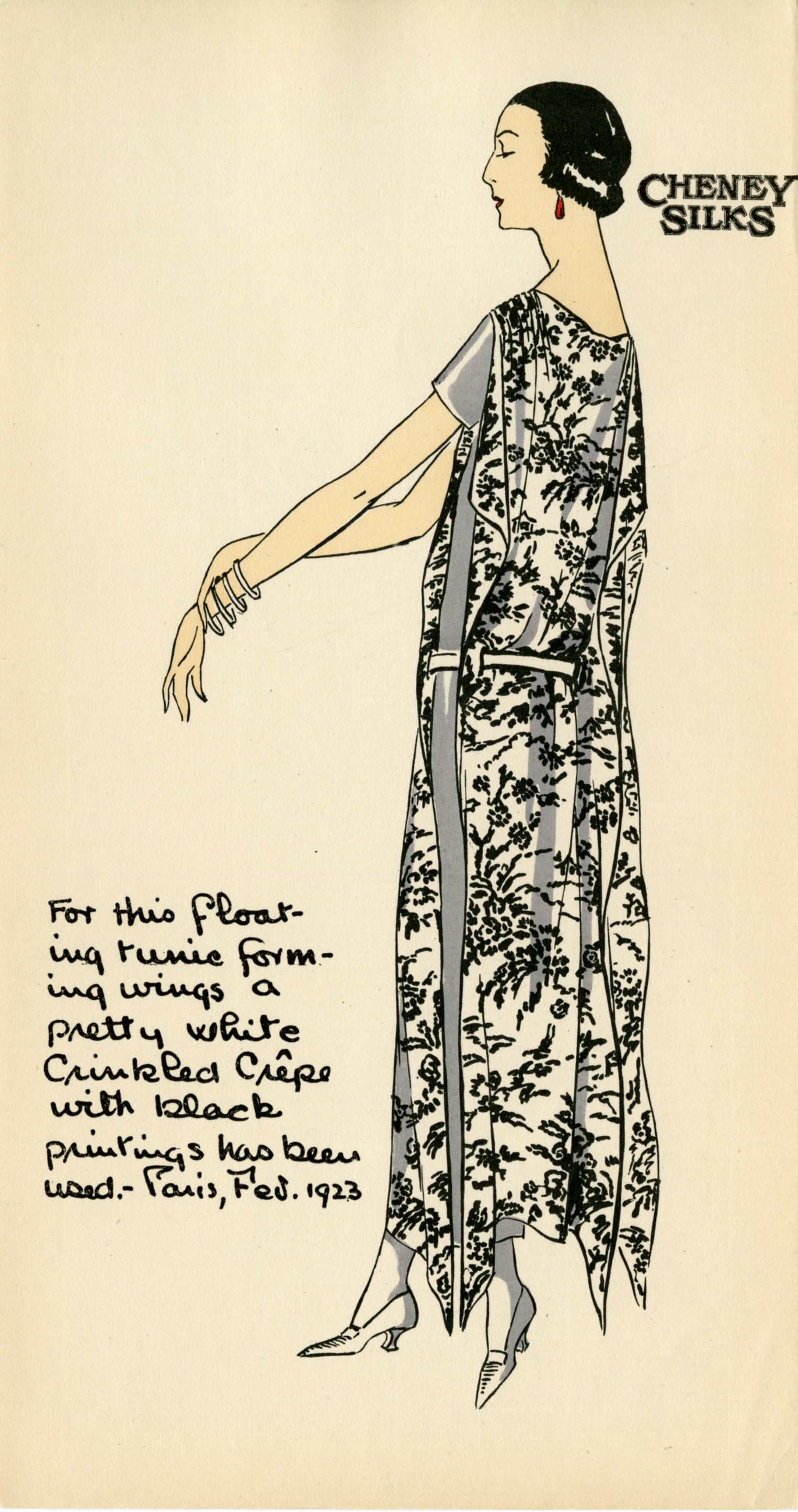 Drawing of a silk dress using fabric from the Cheney Brothers Silk Manufacturing Company, ca. 1920s