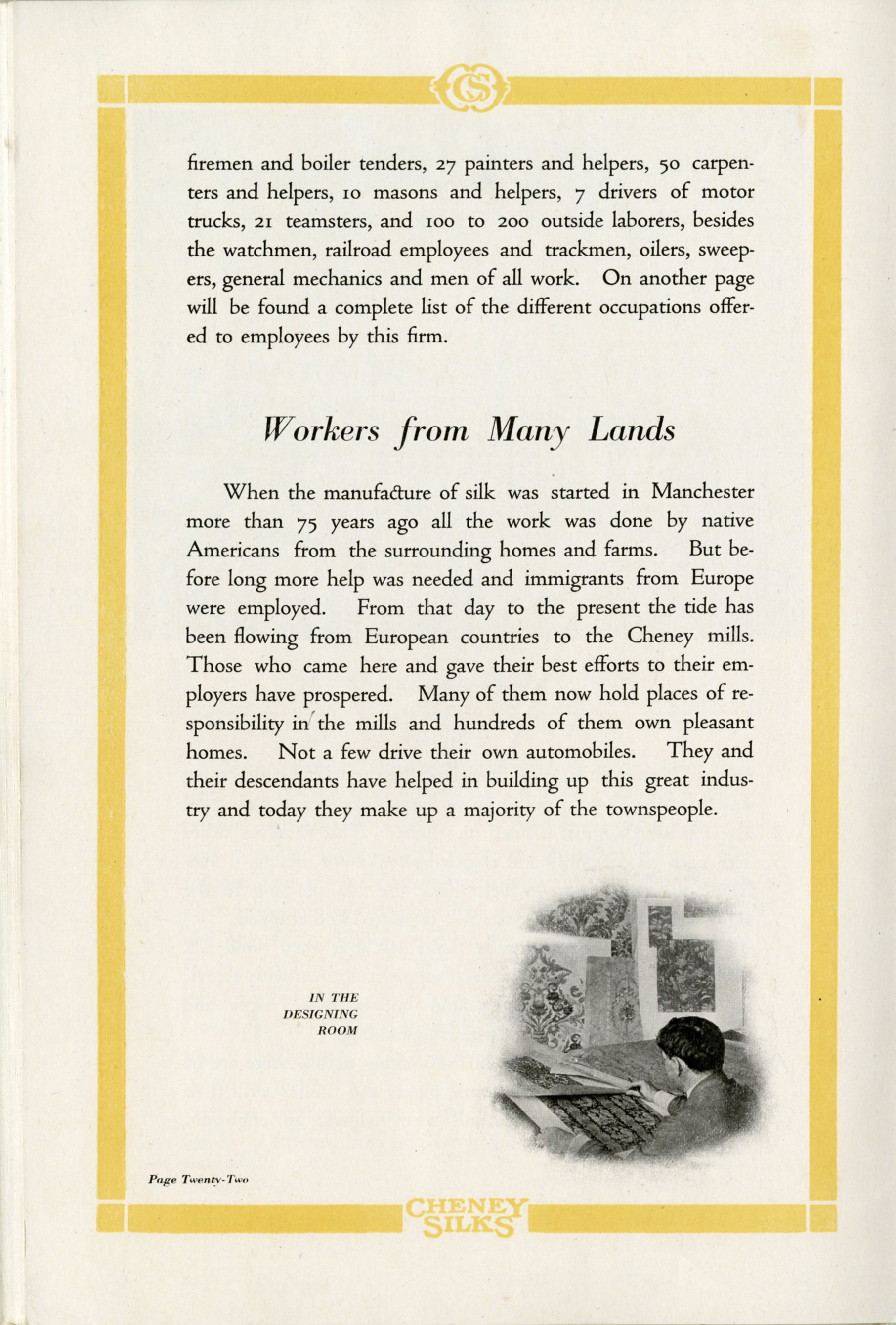 Page from The Miracle Workers, a worker recruitment publication from the Cheney Brothers Silk Manufacturing Company