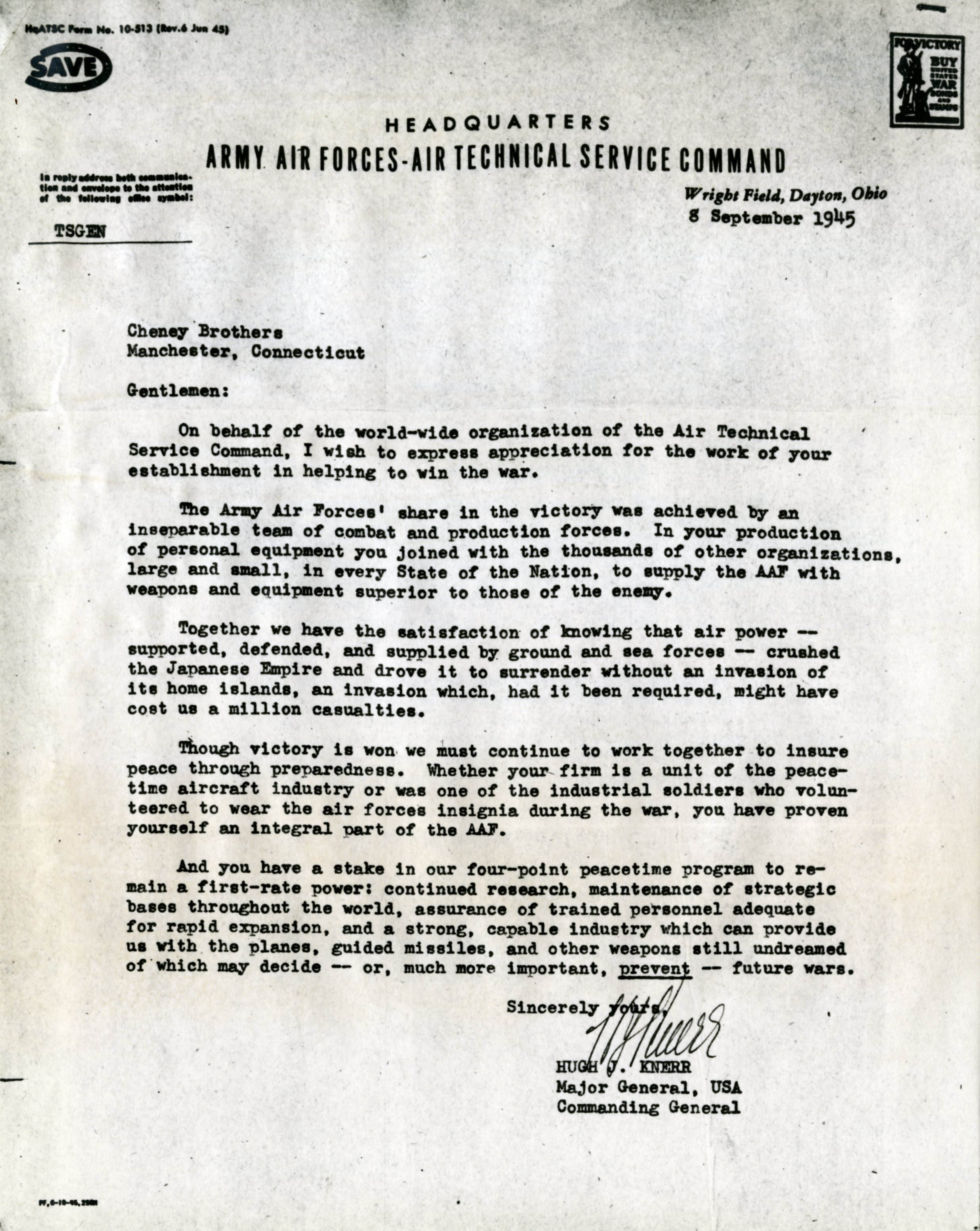 Letter from Hugh Knerr of the Army Air Forces commending Cheney Brothers on their wartime manufacturing of parachutes during World War II, September 8, 1945