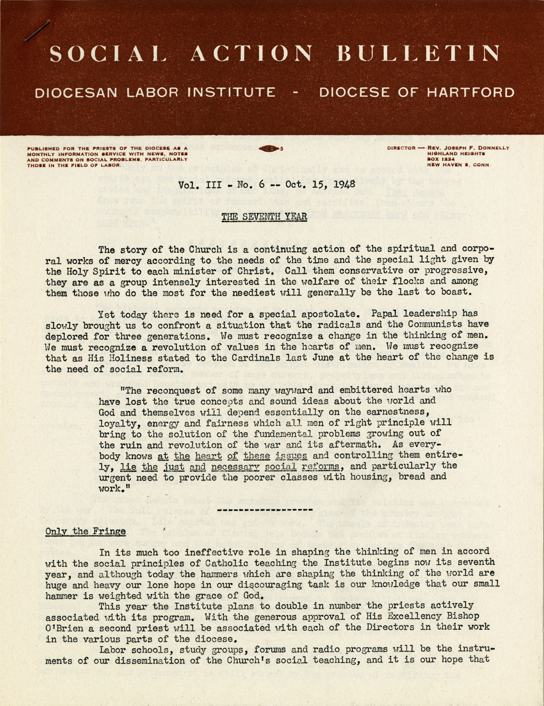 Social Action Bulletin, 1958 (Diocesan Labor Institute Records)