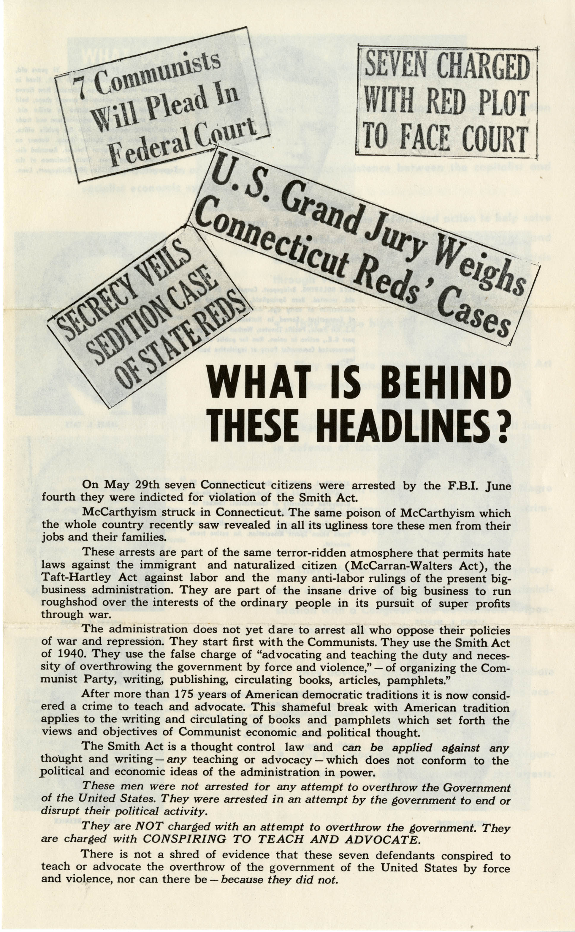 First page of a flyer defending members of the Communist Party of Connecticut for violating the Smith Act