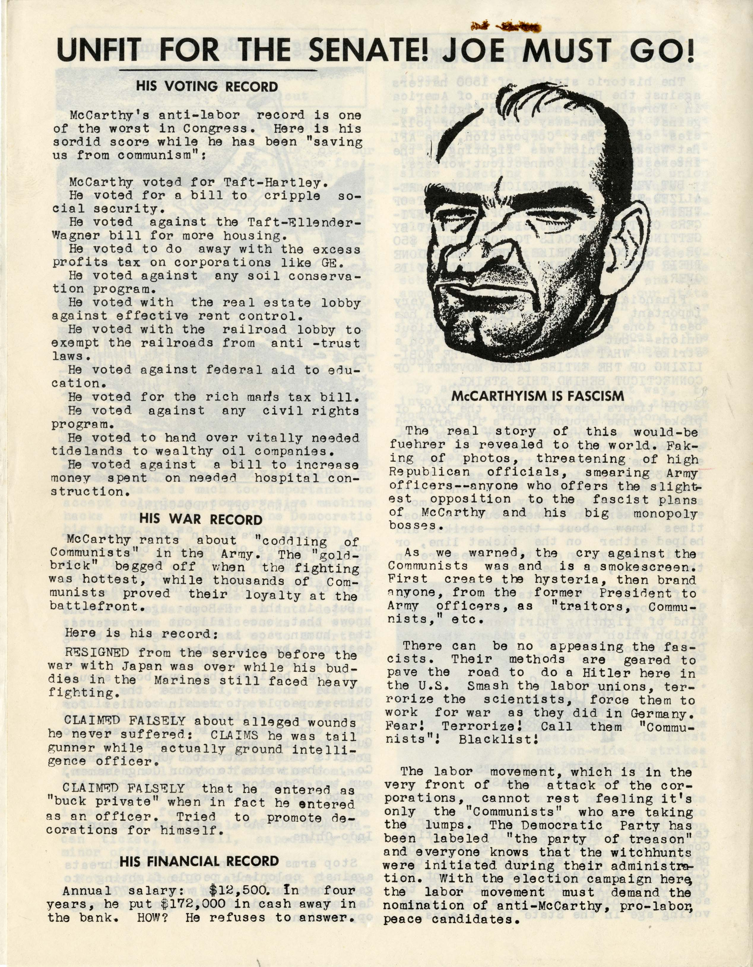 A page from the June 1954 issue of Connecticut Challenge against Joseph McCarthy