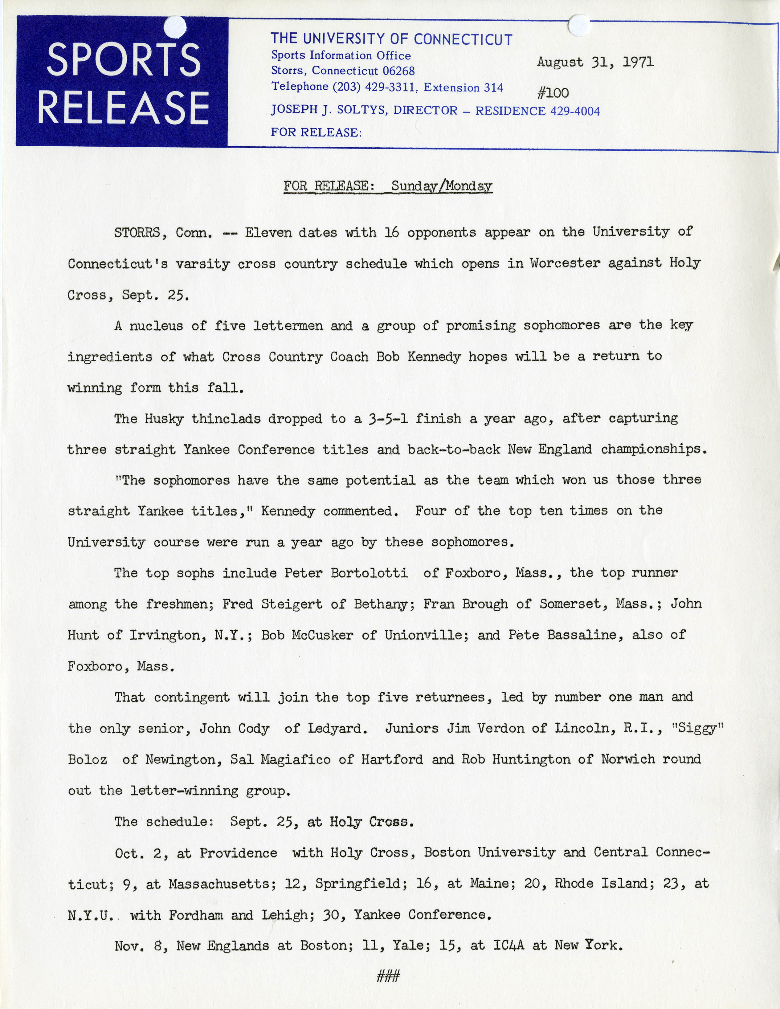 Sports Information Office Press Release, August 31, 1971