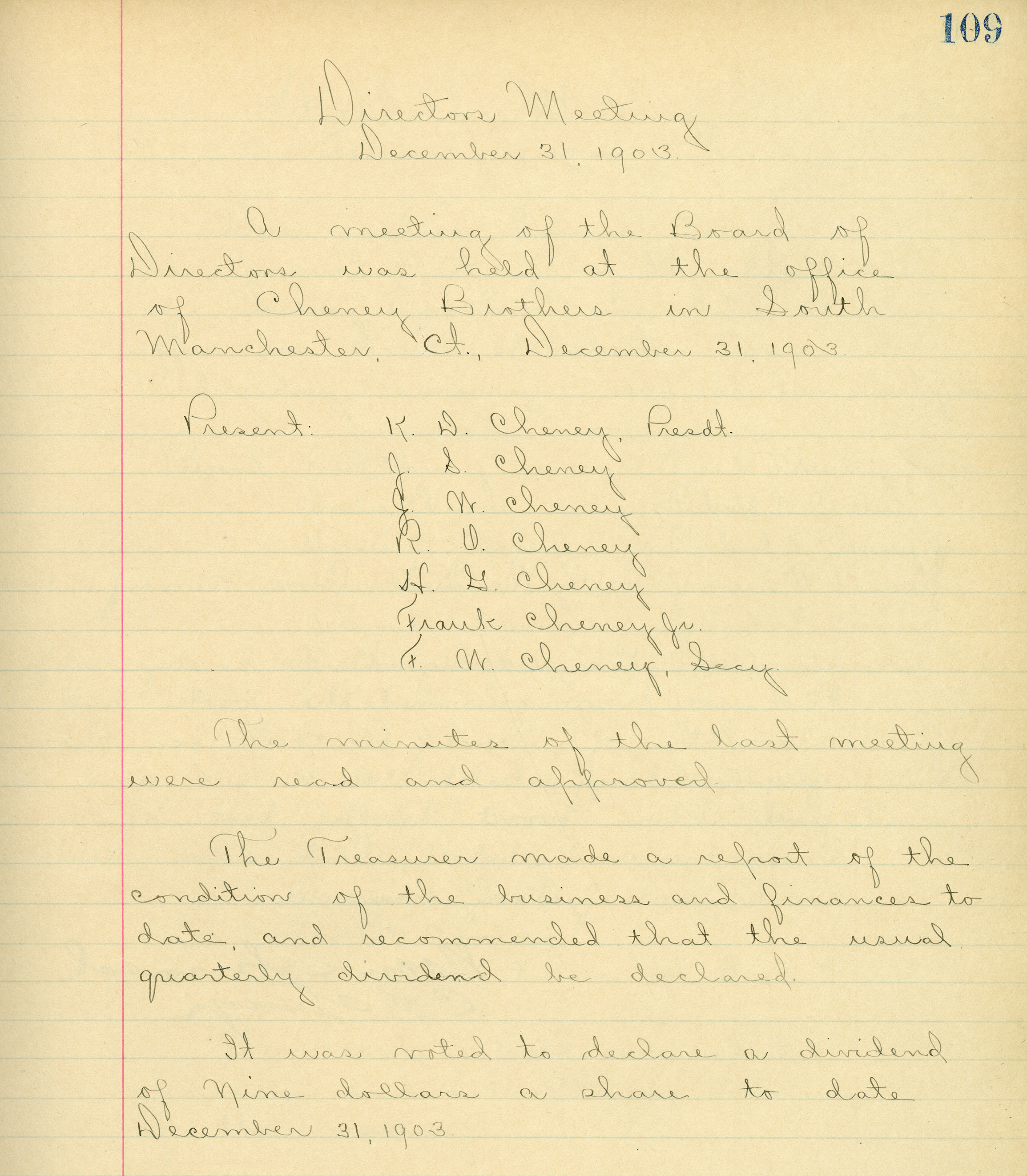 Page from the Cheney Brothers Silk Manufacturing Company Board of Director's minutes, December 31, 1903