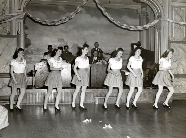 Unidentified workers of the Thermos Company performing in a variety show in the 1940s.