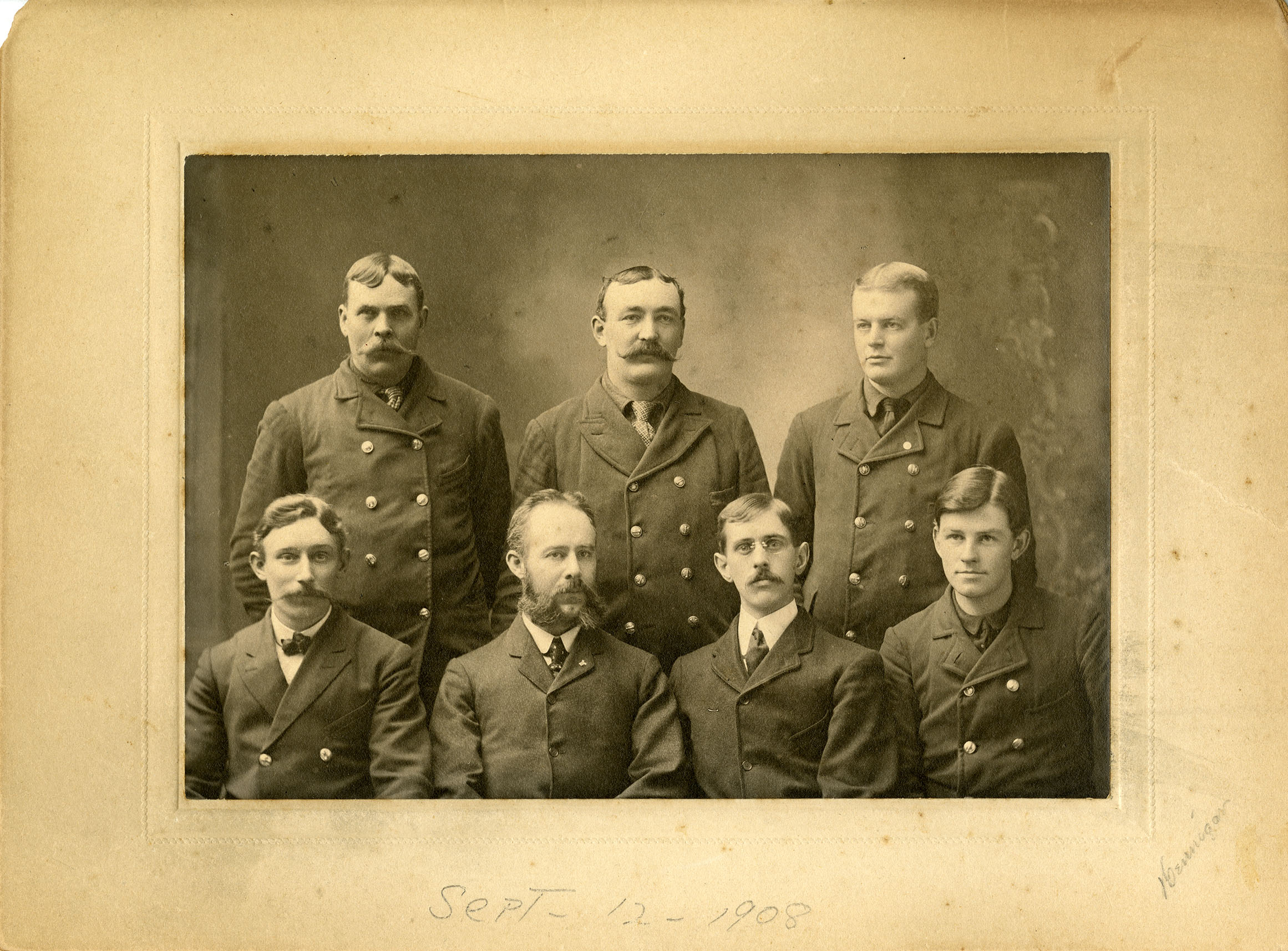 Linemen crew for the Southern New England Telephone Company, Middletown office, 1908 -- these men are identified!