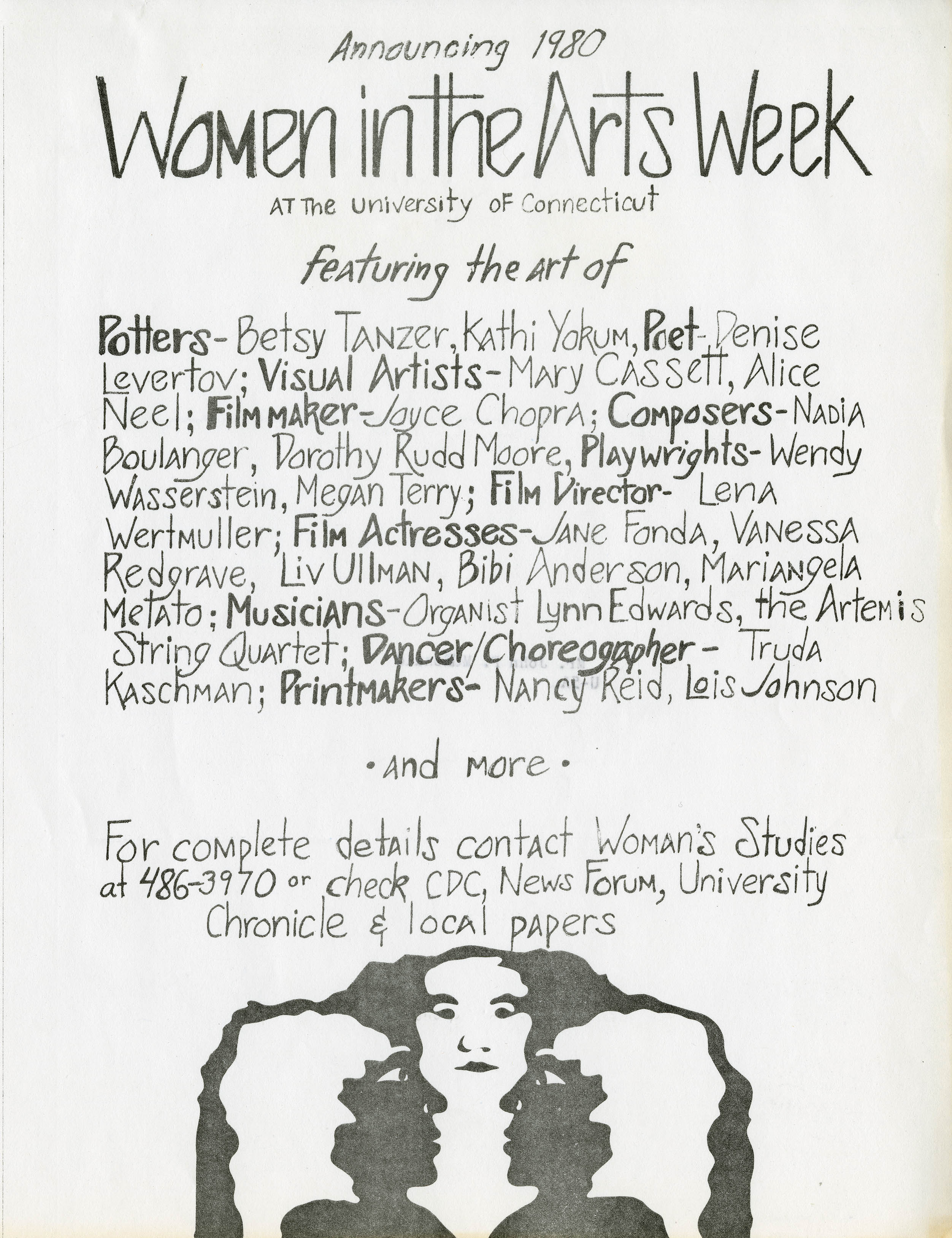 Women in the Arts Week flyer, Women's Studies Program Records