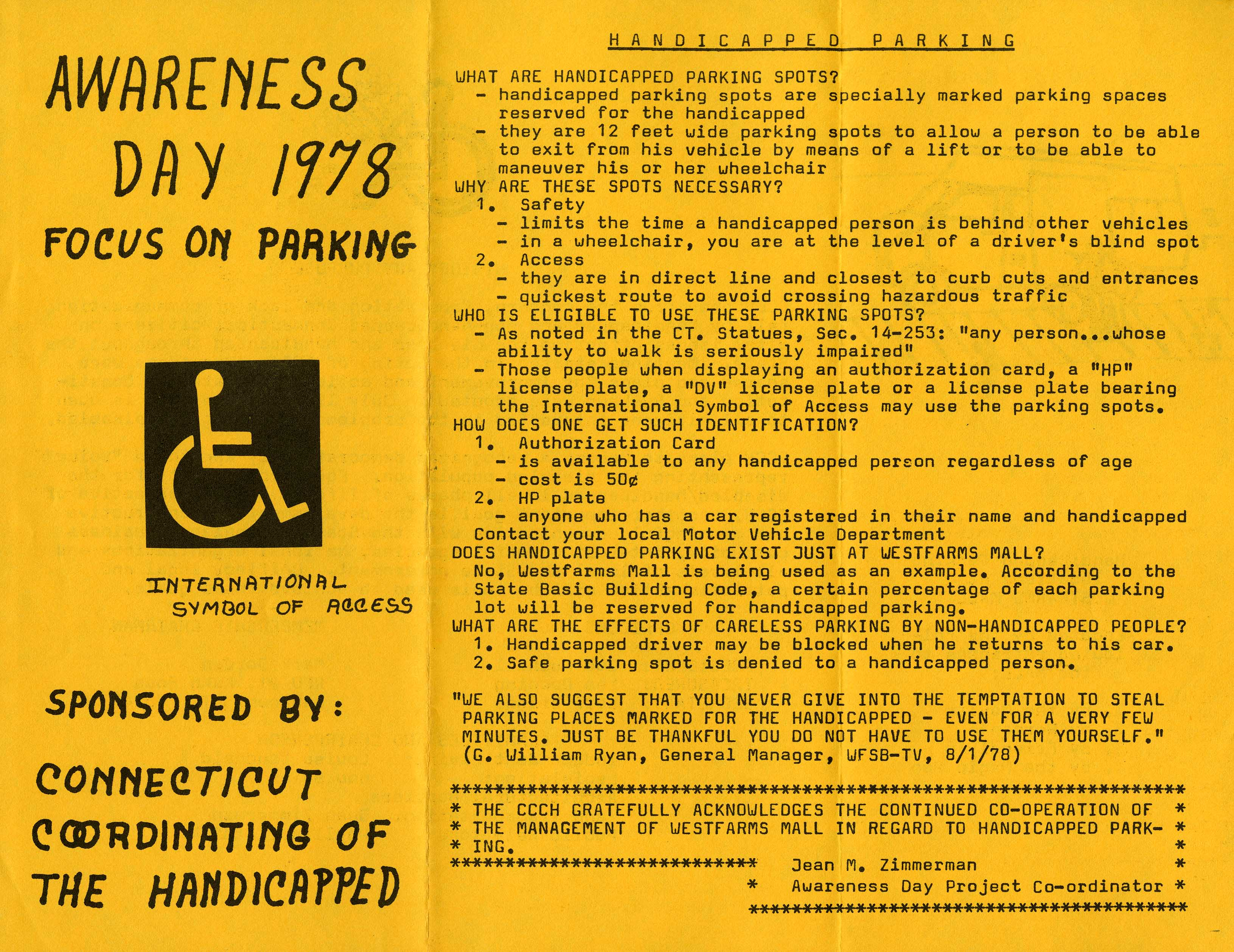 -	Pamphlet from Awareness Day 1978 focus on handicapped parking