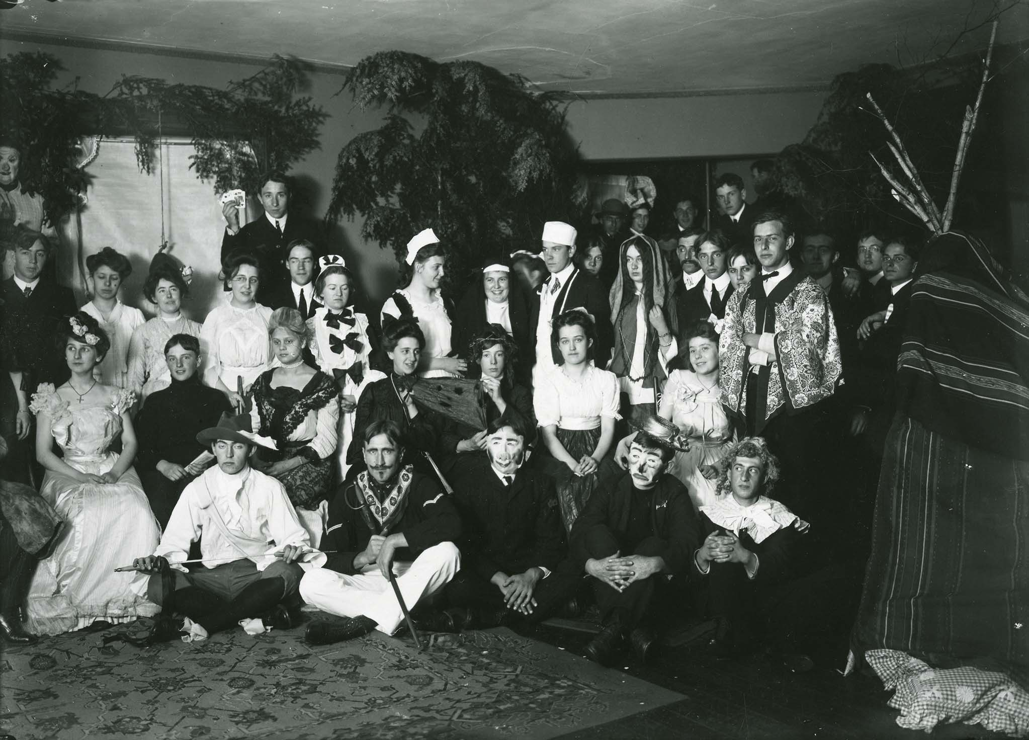 Connecticut Agricultural College Students at a Halloween Party, 1904