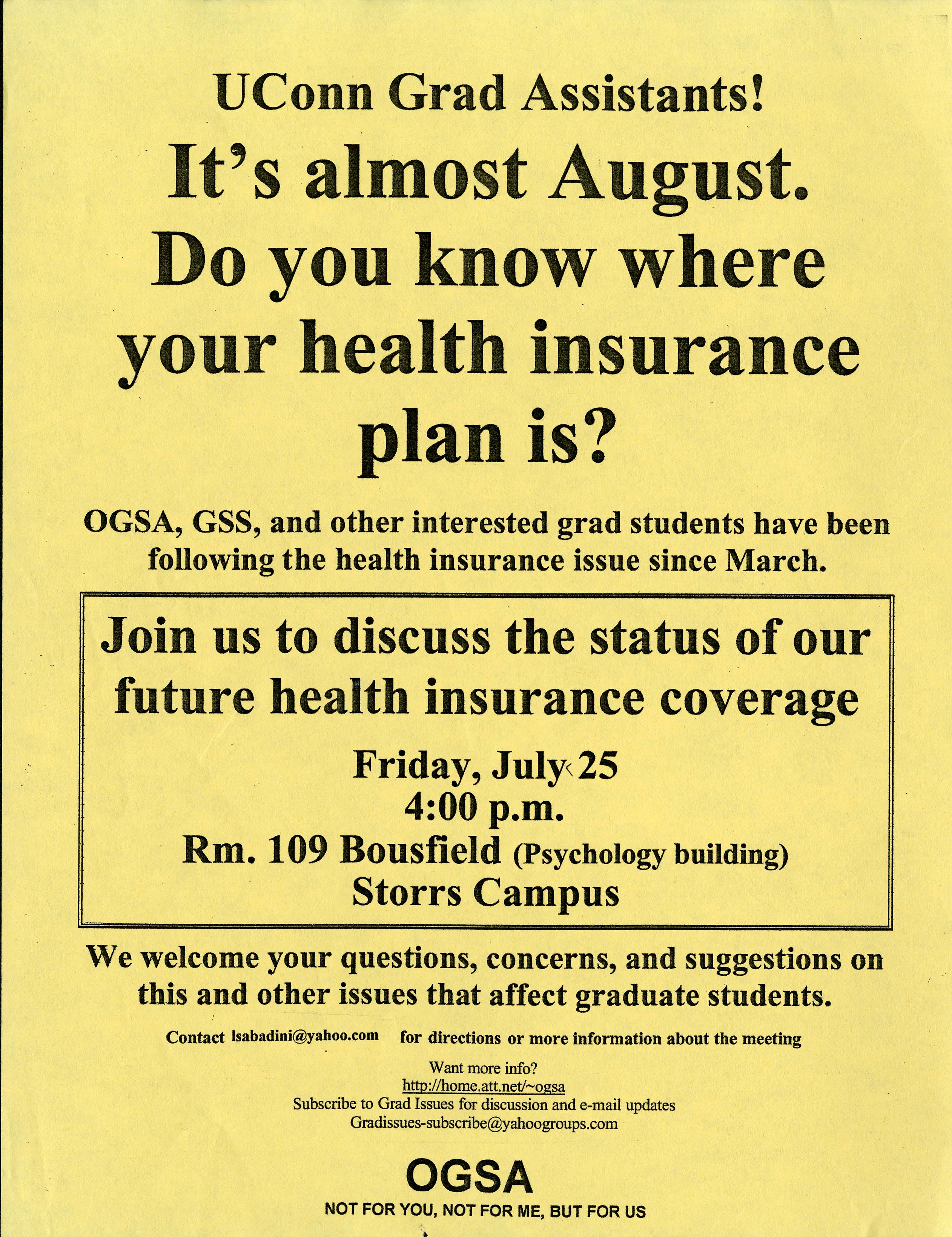 UConn Organization of Graduate Student Action flyer, 2003