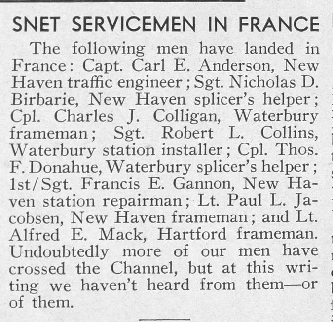 A notice in the July-August 1944 issue of The Telephone Bulletin of the Southern New England Telephone Company