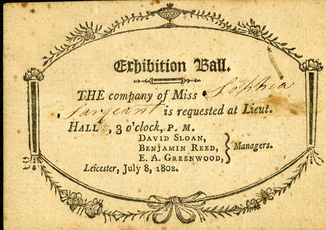 Invitation to a ball from 1802. From the Sargent Family Papers