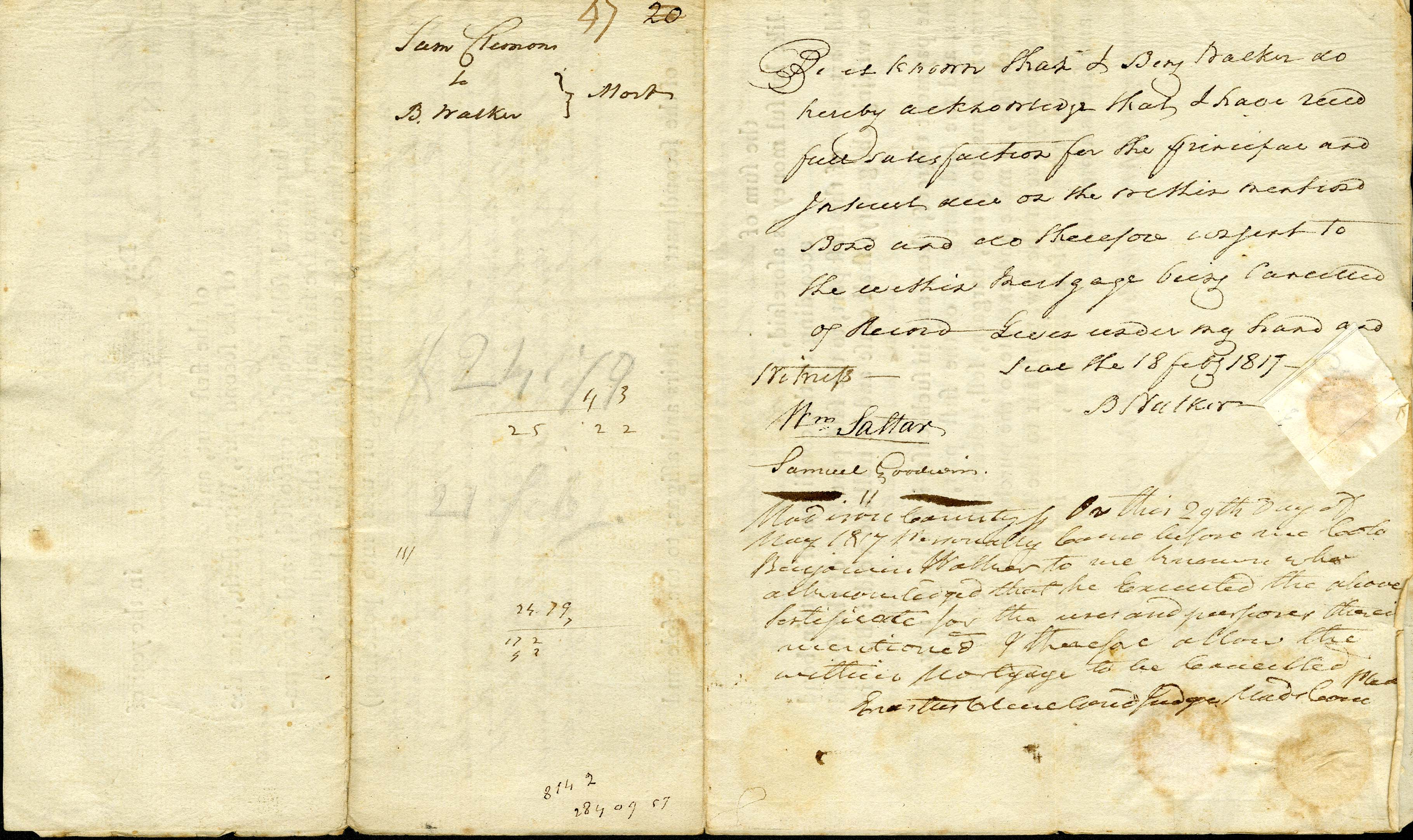 Writing on the back of the Indenture documents. T.S. Gold Family Papers.