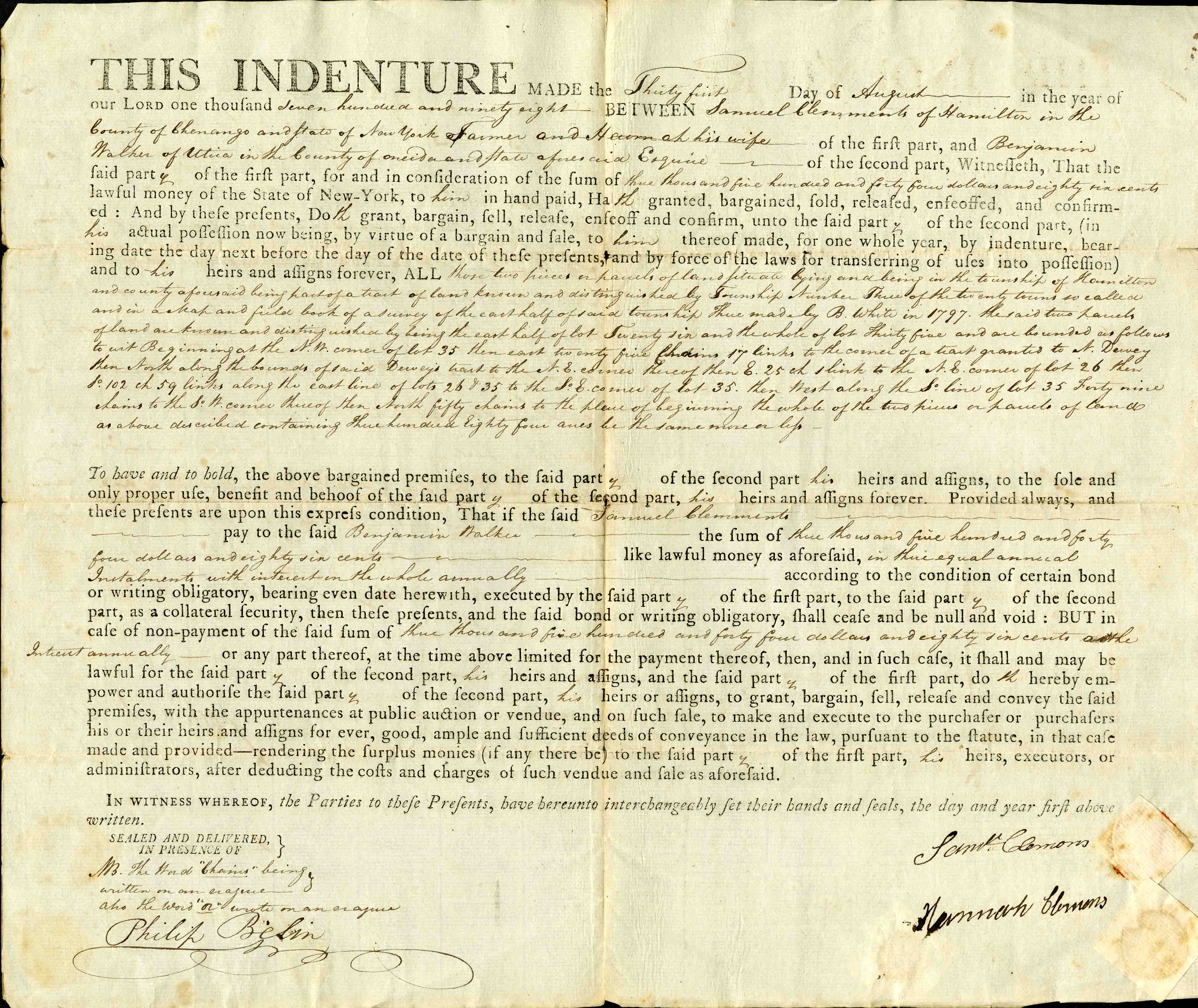 Indenture document from 1798 concerning a land transaction. From the T.S. Gold Family Papers