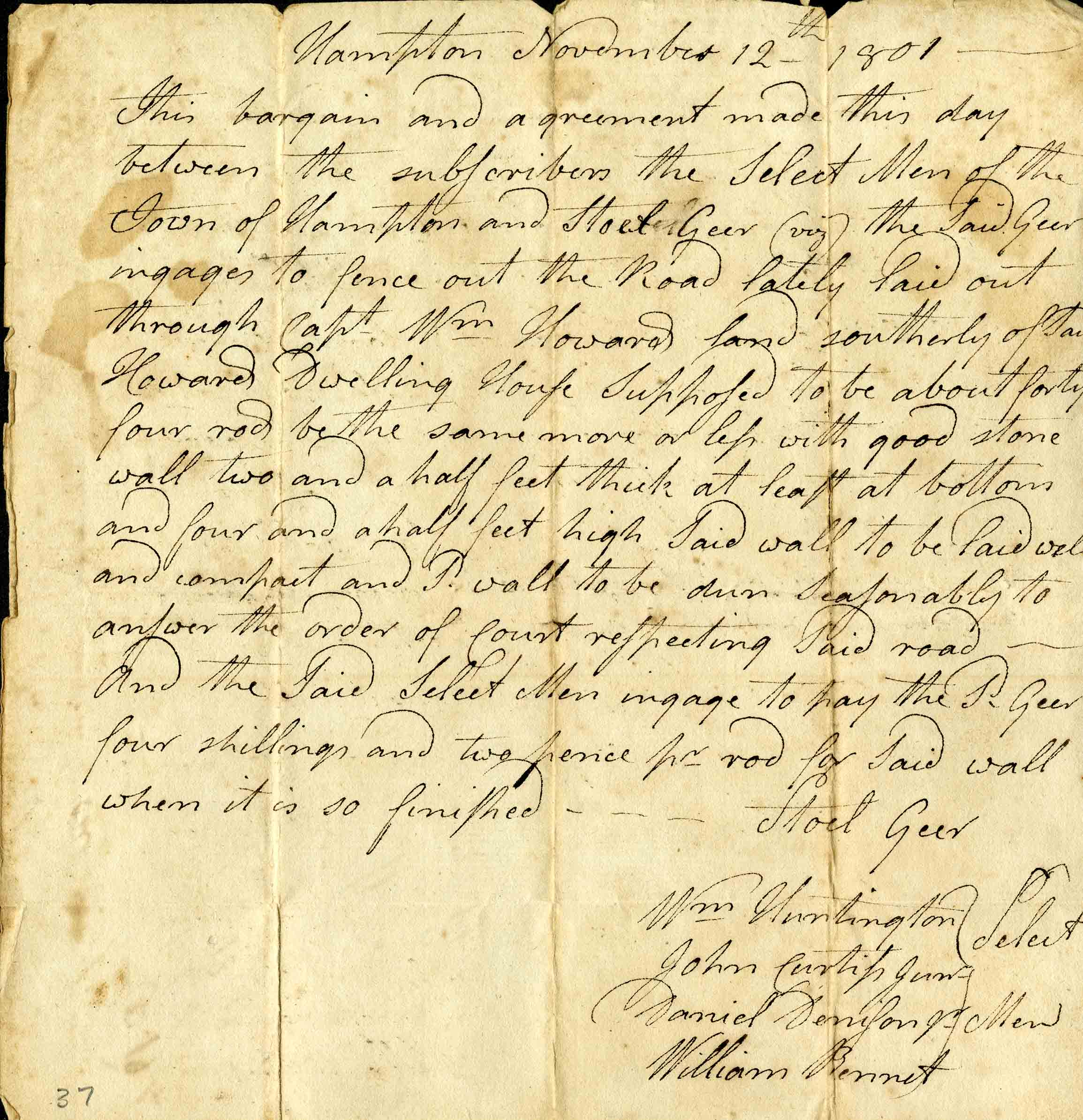 Official letter from Hampton, Connecticut, from 1801 discussing the construction of a new road. From the Hampton Antiquarian and Historical Society Collection