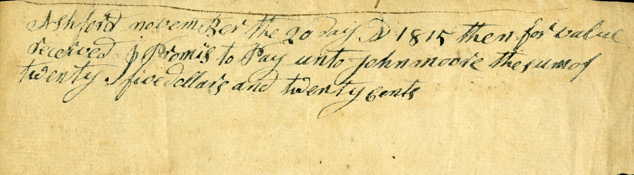 Promissory note from 1815. From the Fitts Family Papers