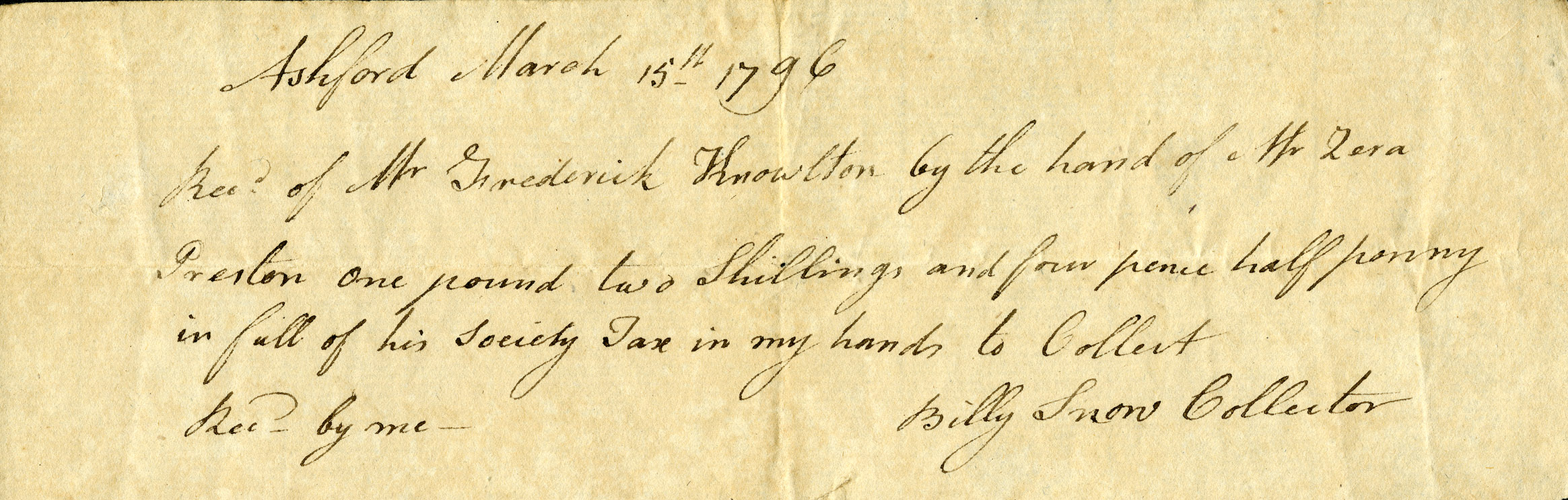 Tax receipt from 1796. From the Fitts Family Papers