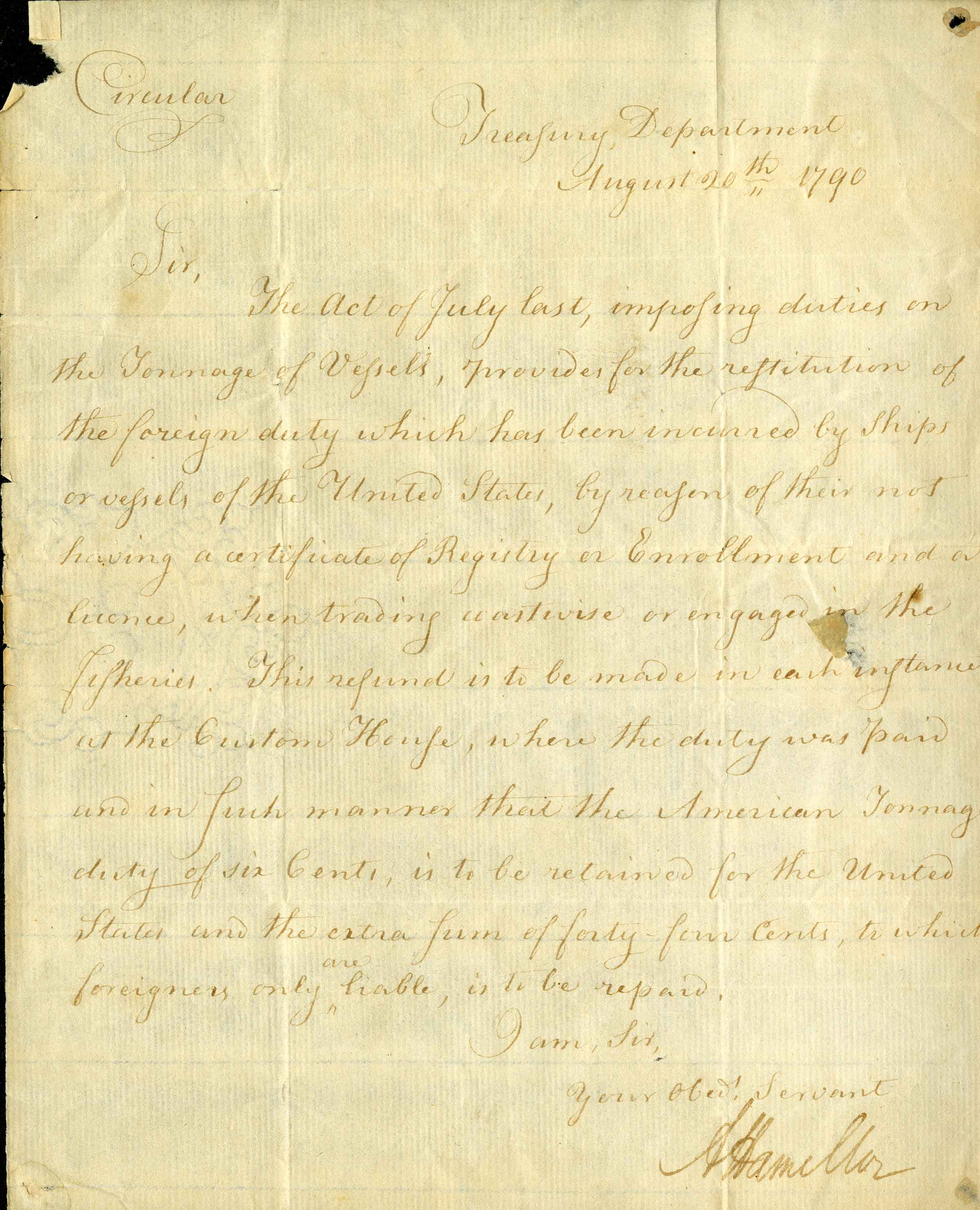 1790 Letter from the Treasury Department, signed by Alexander Hamilton. From the Gaines Collection of Americana.
