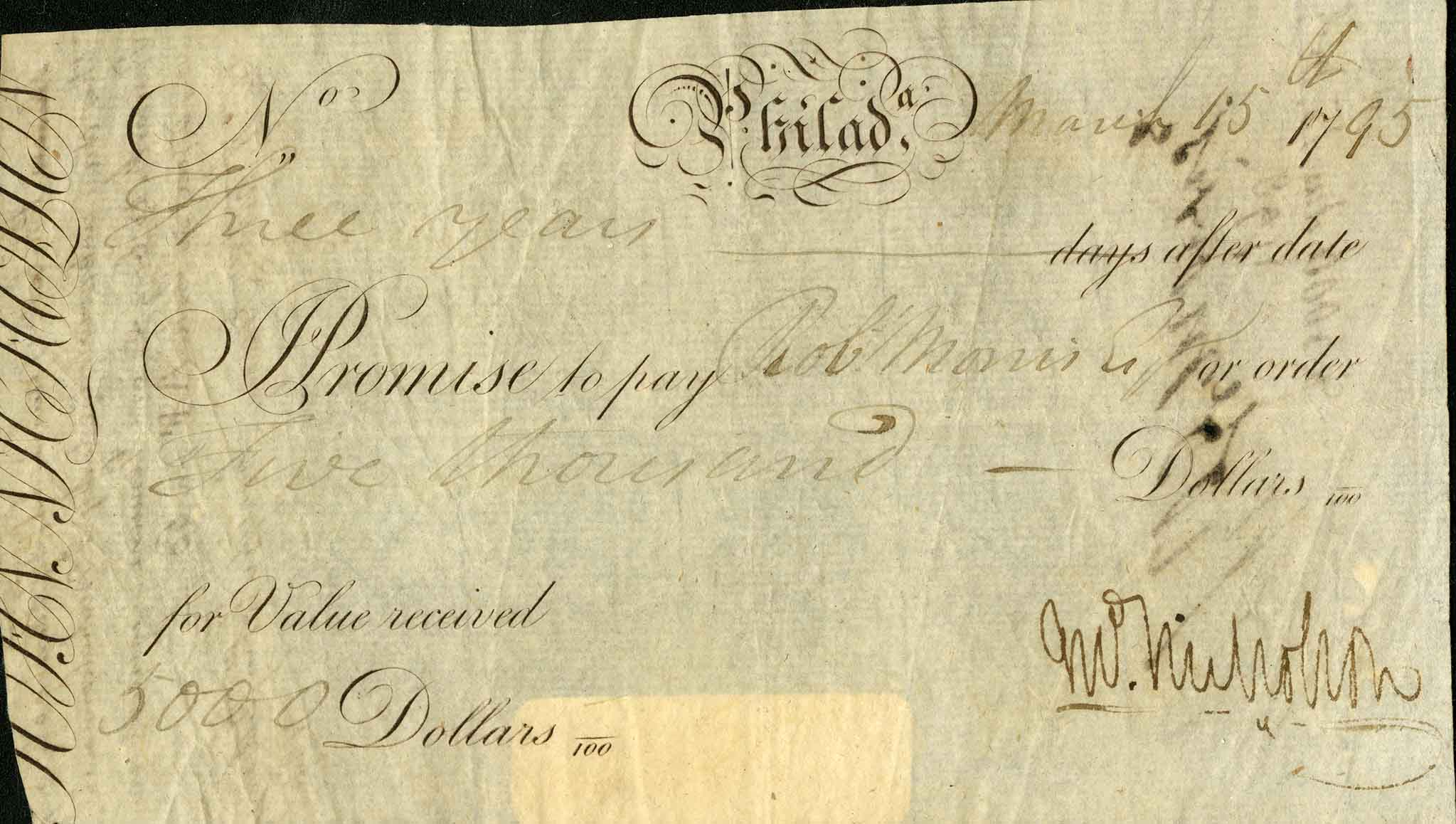 Promissory note from 1795. From the Gaines Collection of Americana