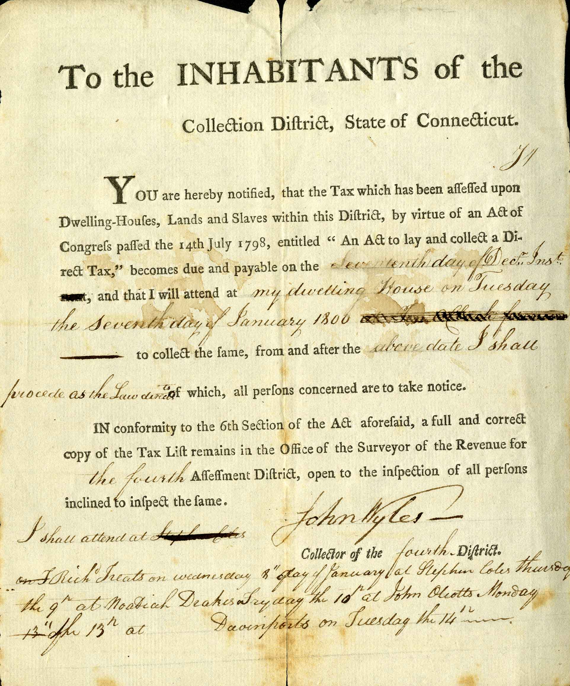 Connecticut tax notice from 1800 concerning houses, land, and slaves. From the Gaines Collection of Americana.