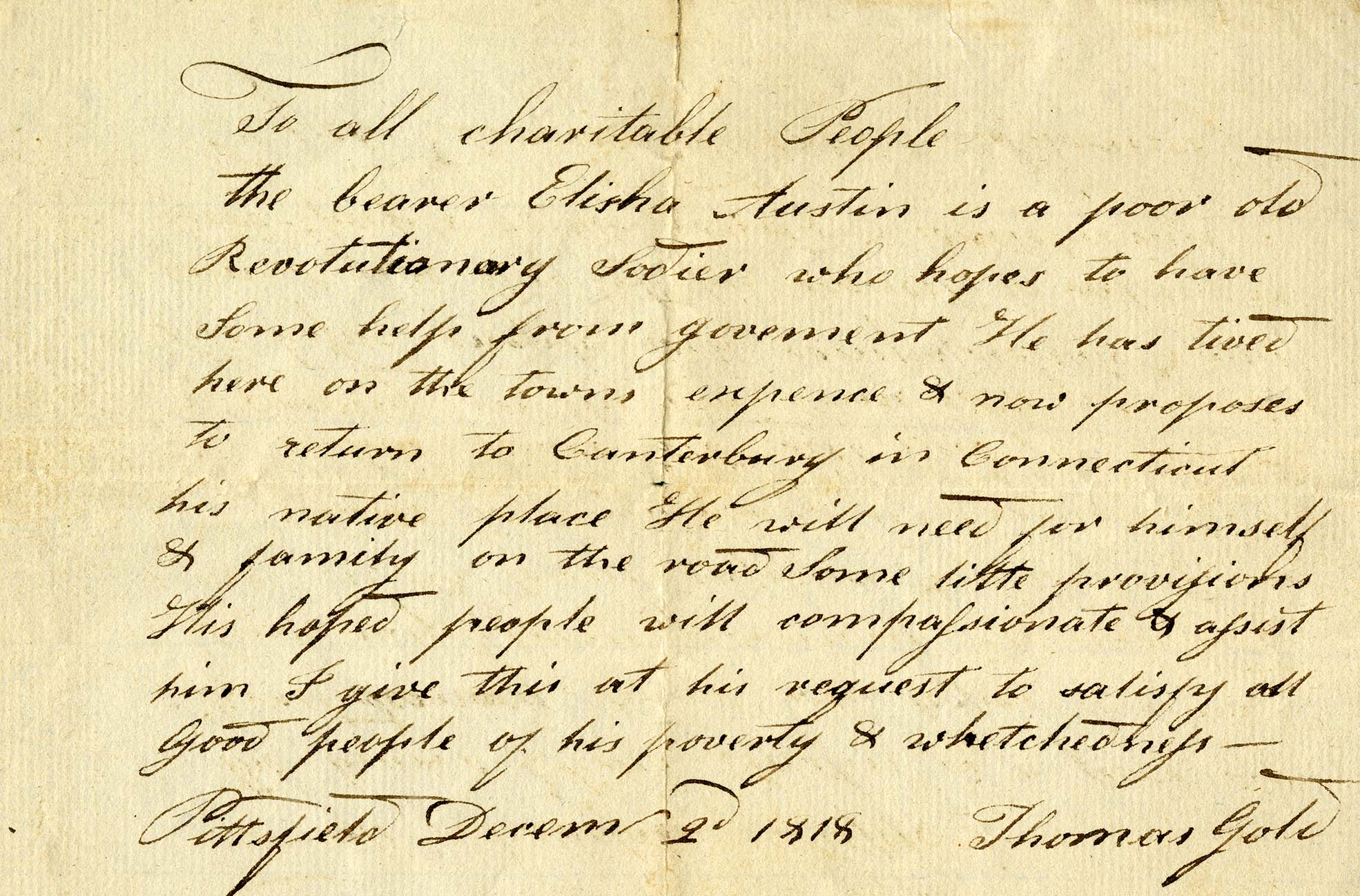 1818 letter to the town of Canterbury asking for financial assistance for a Revolutionary War veteran. From the T.S. Gold Family Papers
