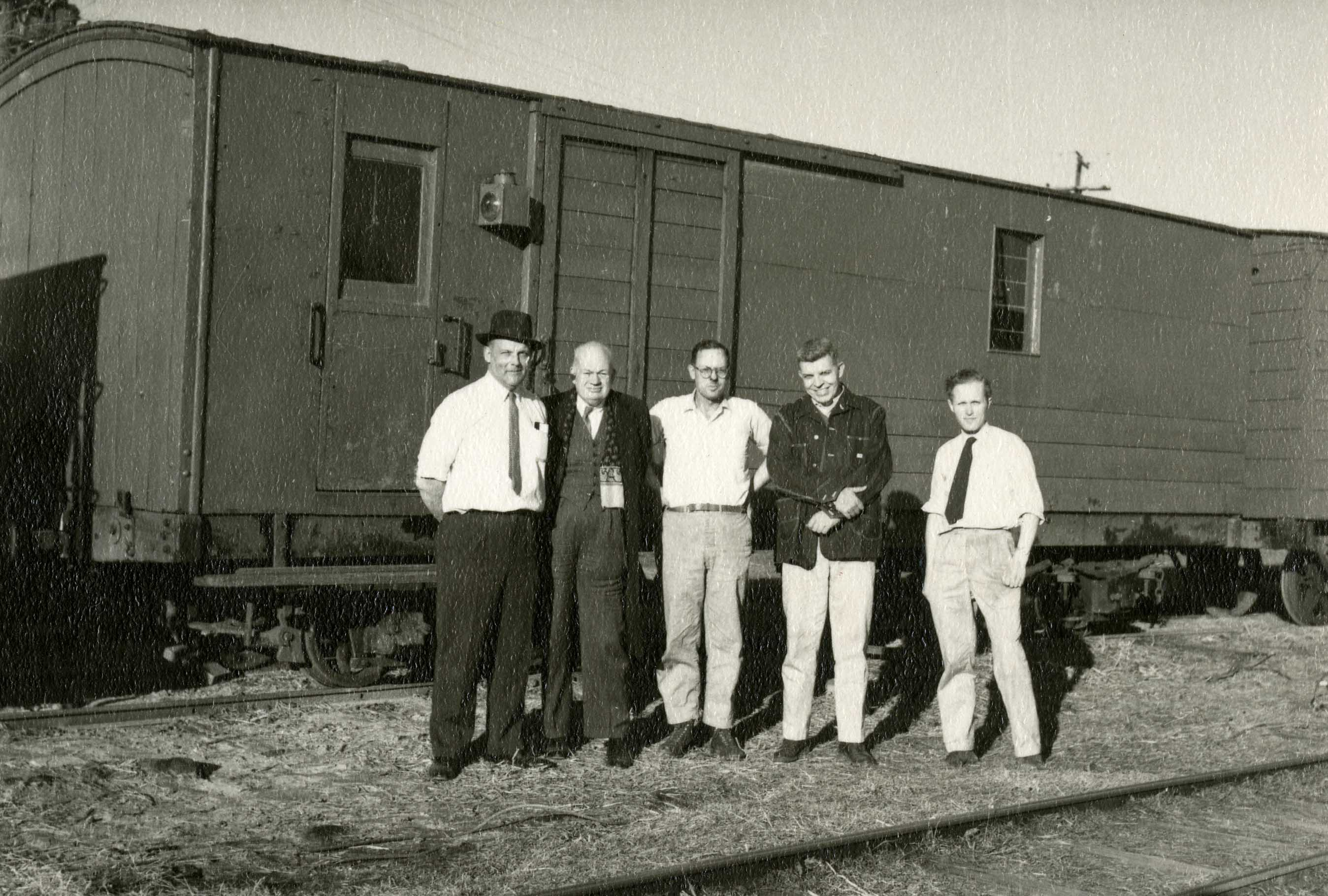 "The Lady Edith Society at Pine Creek Railroad (1962). In the middle, from left-to-right: Rogers E.M. ""Frimbo"" Whitaker, Edgar T. Mead, Jr., Oliver Jensen"