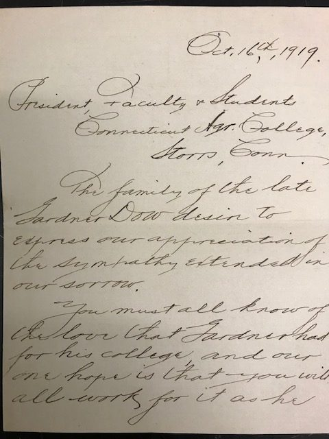 First page of a letter from Arthur Dow to the Connecticut Agricultural College community thanking them for their sympathy to the family of Gardner Dow