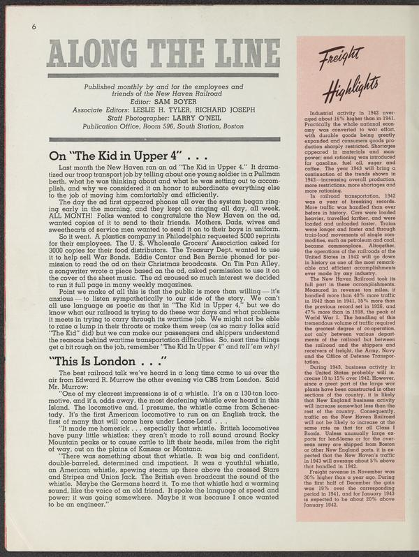 A page from the January 1943 issue of Along the Line, a publication of the New Haven Railroad, about the success of The Kid in Upper 4 ad