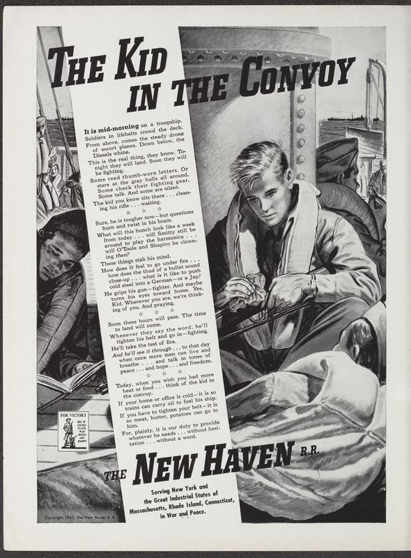 The Kid in the Convoy, a March 1943 ad for the New Haven Railroad