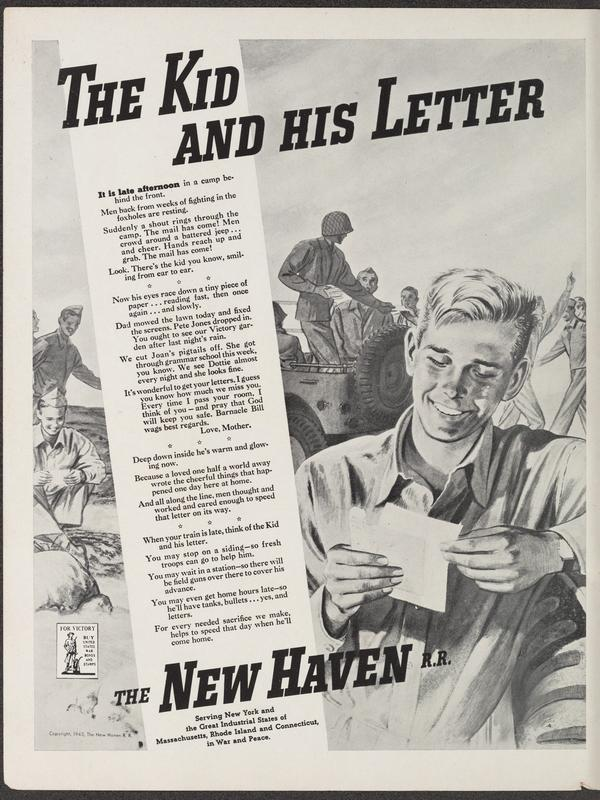 The Kid and His Letter, a June 1943 ad for the New Haven Railroad