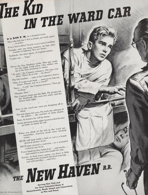 The Kid in the Ward Car, a September 1943 ad for the New Haven Railroad
