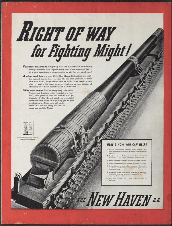 Right of Way for Fighting Might, an October 1942 ad for the New Haven Railroad