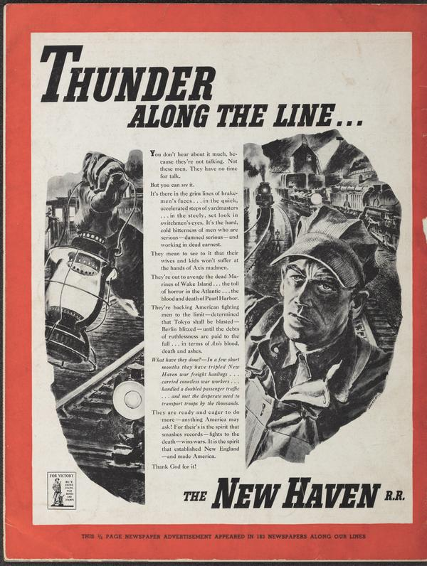 Thunder Along the Line, an ad from November 1942 for the New Haven Railroad
