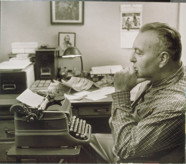 Edwin Way Teale at his typewriter in 1978