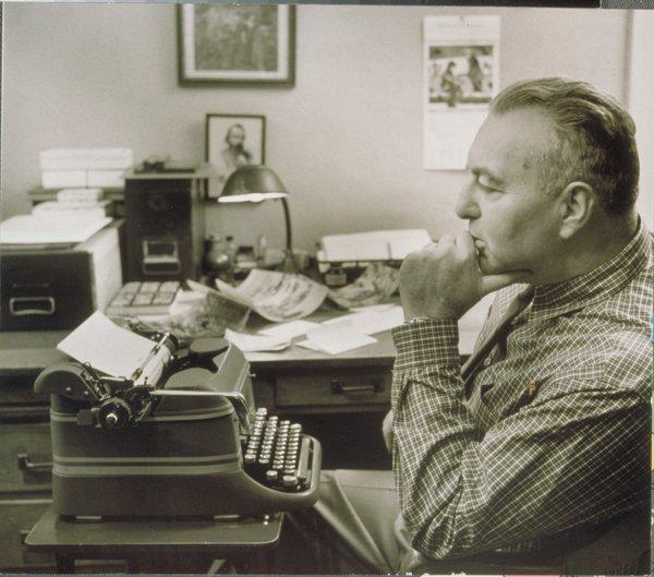 Edwin Way Teale at his typewriter in 1978