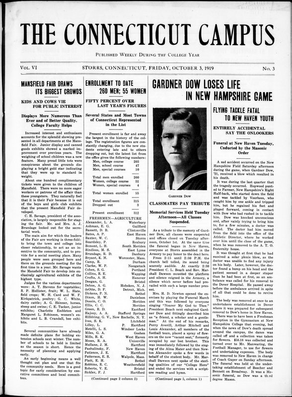 Front page of the October 3, 1919, issue of The Connecticut Campus of the Connecticut Agricultural College, with an article about Gardner Dow's death