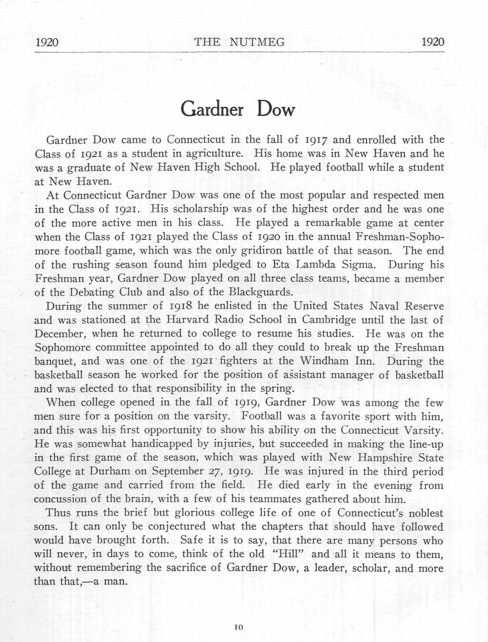 Page from the 1920 Nutmeg, the Connecticut Agricultural College student yearbook, in memory of Gardner Dow