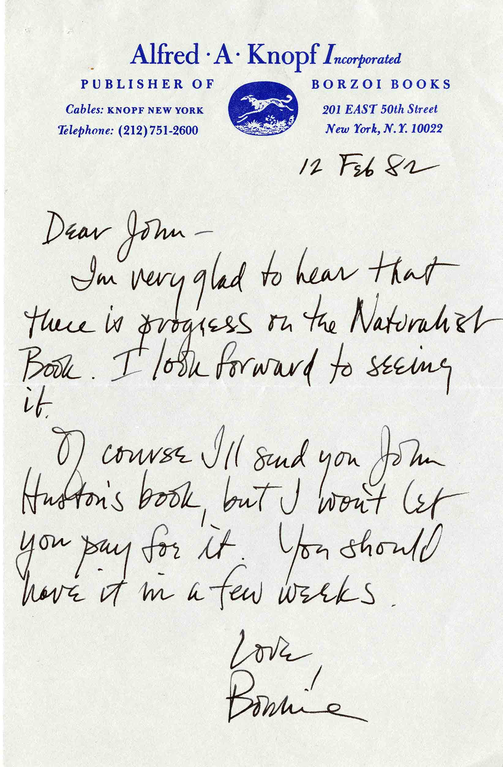 Note from John Terres's publisher at Alfred A. Knopf, February 12, 1982