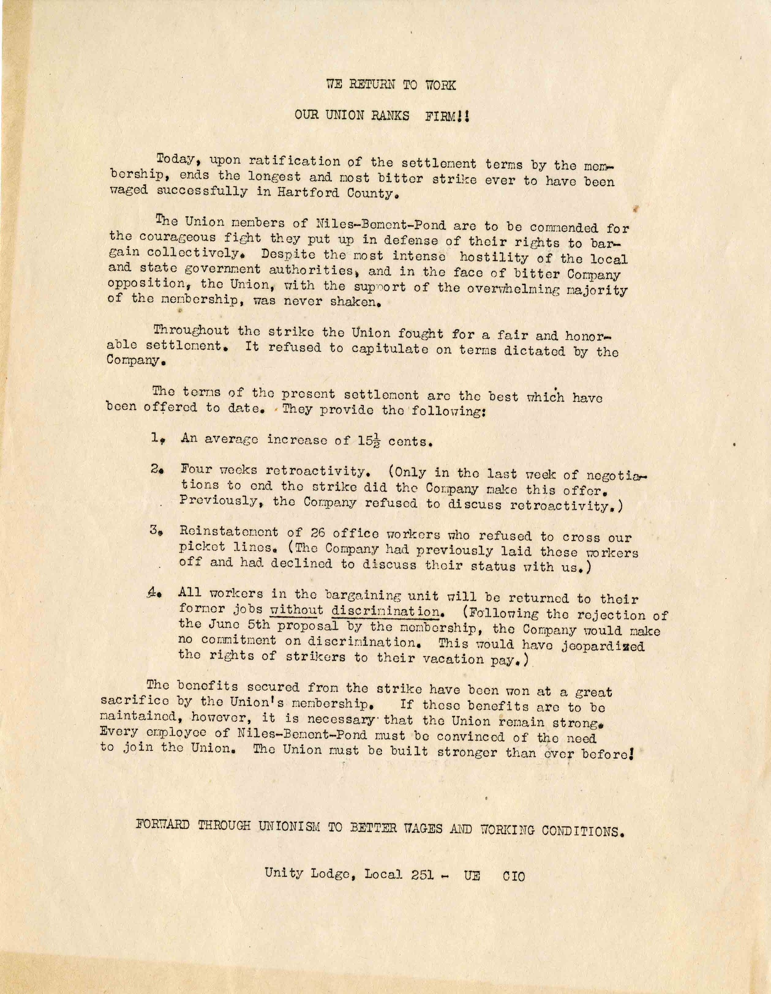 Letter to membership about returning to work after a strike, from the Henry Stieg Papers, 1946