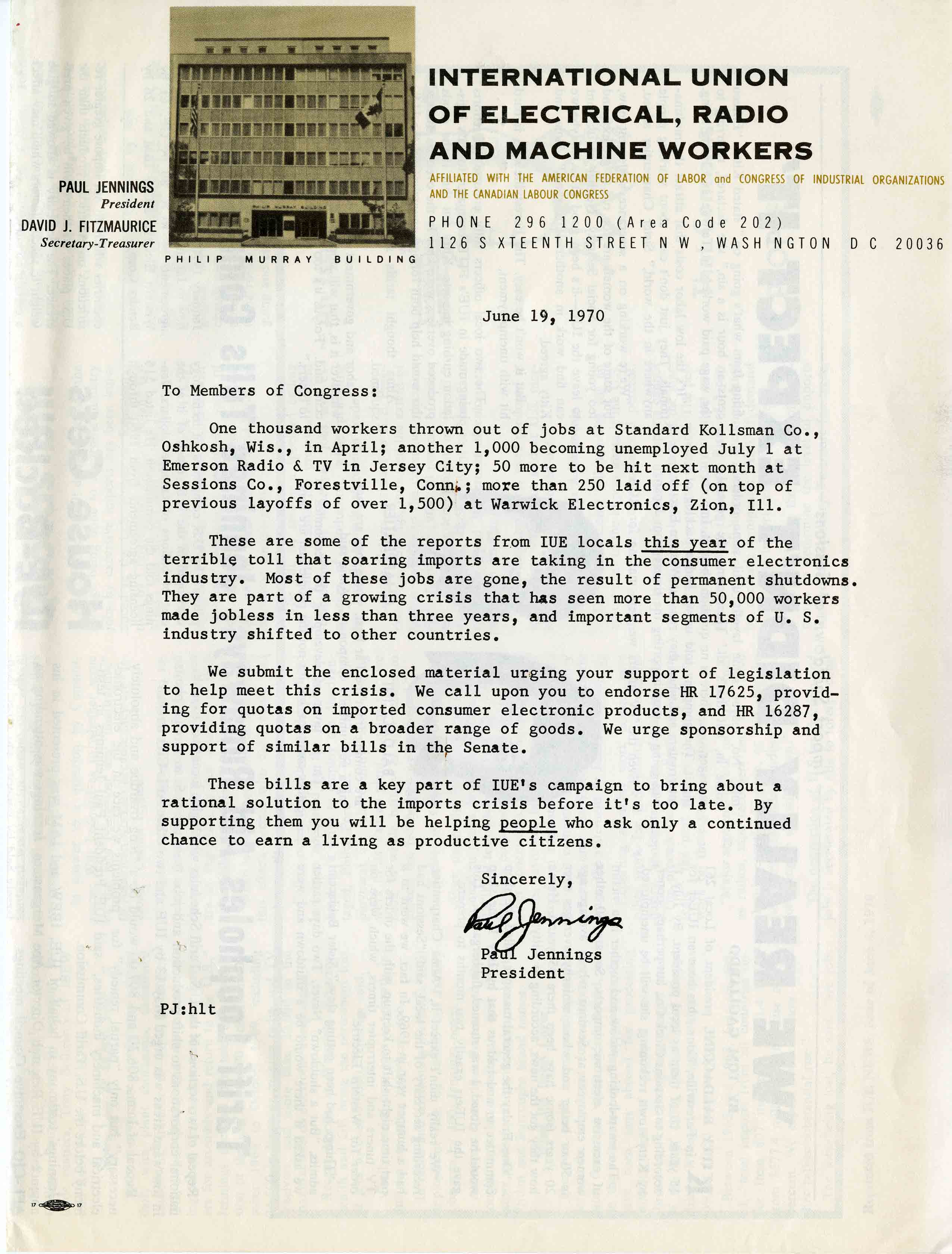 Letter about plant closures from the International Union of Electrical, Radio and Machine Workers, June 19, 1970, from the James A. Ingalls Papers